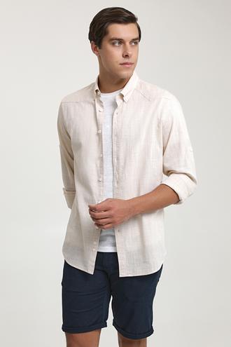 Ds Damat Slim Fit Bej Keten Görünümlü Gömlek - 6725695027012   D'S Damat