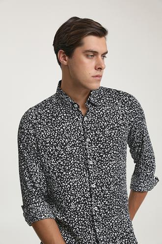 Twn Slim Fit Siyah Baskılı Gömlek - 8682445195927 | D'S Damat