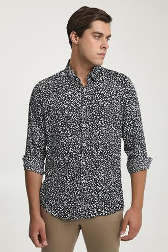 Twn Slim Fit Siyah Baskılı Gömlek - 8682060937711 | D'S Damat
