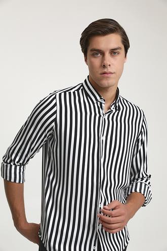 Twn Slim Fit Siyah Baskılı Gömlek - 8682060937780 | D'S Damat