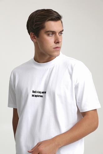 Twn Slim Fit Beyaz Baskılı T-shirt - 8682445259223   D'S Damat