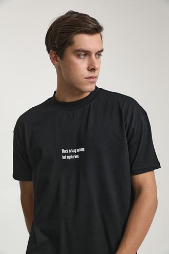 Twn Oversize Siyah Baskılı T-shirt - 8682060951472   D'S Damat