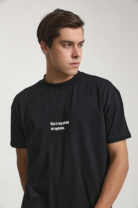 Twn Oversize Siyah Baskılı T-shirt - 8682060951472 | D'S Damat