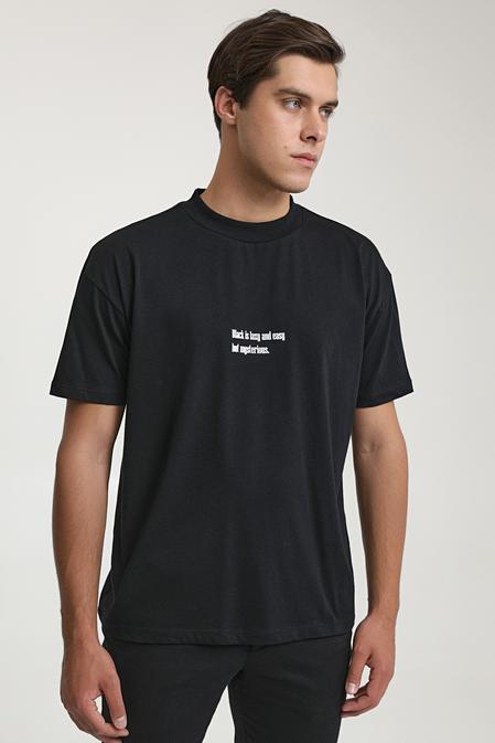 Twn Slim Fit Siyah Baskılı T-shirt - 8682445259216 | D'S Damat