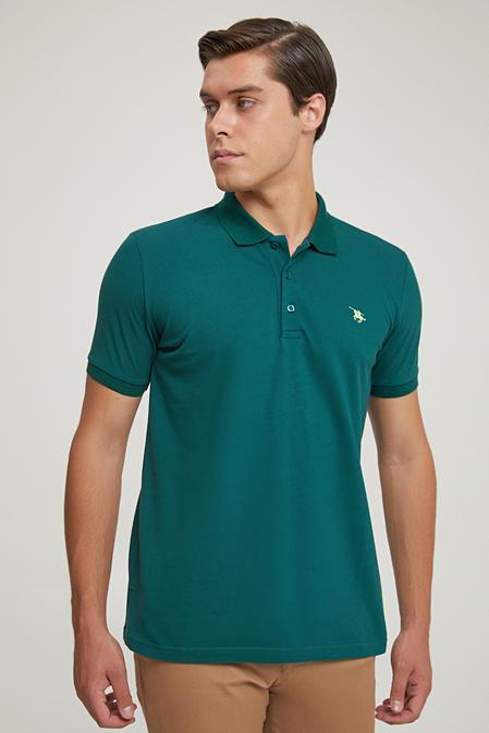 Ds Damat Regular Fit Yeşil Pike Dokulu T-shirt - 8682060907240   D'S Damat