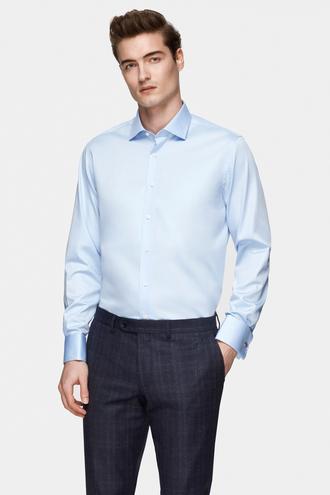 Damat Slim Fit Mavi Düz Nano Care Gömlek - 8682364808533   Damat Tween