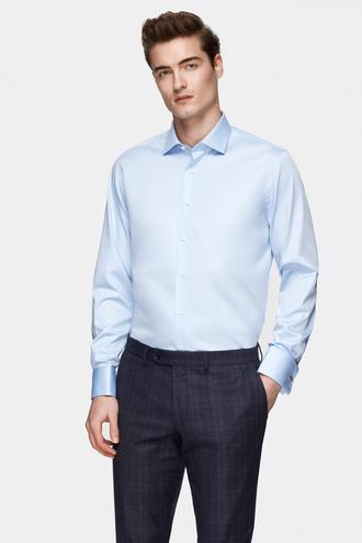 Damat Comfort Mavi Düz Nano Care Gömlek - 8682364799114   Damat Tween