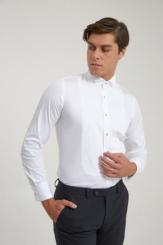 Ds Damat Slim Fit Beyaz Smokin Gömlek - 8682445078299 | D'S Damat