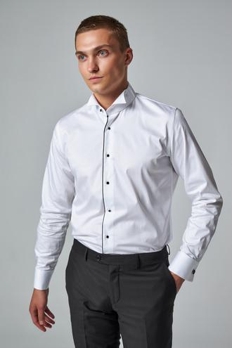 Ds Damat Slim Fit Beyaz Düz Smokin Gömlek - 8682445079548 | D'S Damat