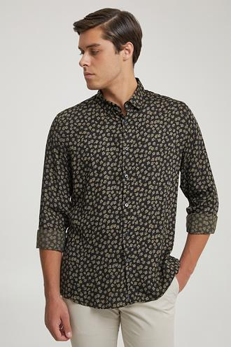 Tween Slim Fit Siyah Baskılı Gömlek - 8682364658718   Damat Tween