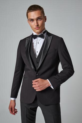 Twn Slim Fit Siyah Düz Smokin Yelekli Takım Elbise - 8682445233568 | D'S Damat