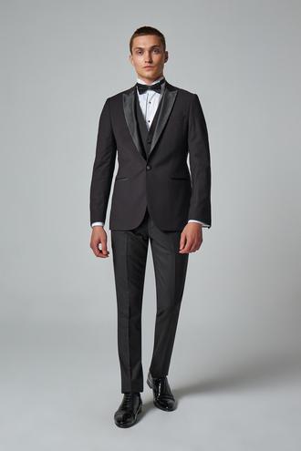 Twn Slim Fit Siyah Düz Smokin Yelekli Takım Elbise - 8682445071009 | D'S Damat