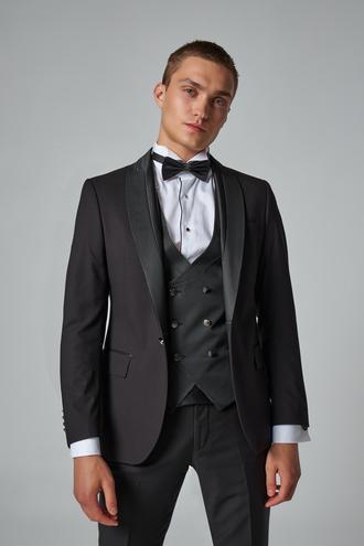 Ds Damat Slim Fit Siyah Düz Smokin Yelekli Takım Elbise - 8682445244717   D'S Damat