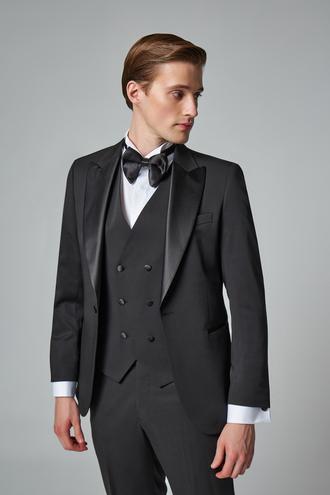 Ds Damat Slim Fit Siyah Armürlü Smokin Yelekli Takım Elbise - 8682445246018 | D'S Damat