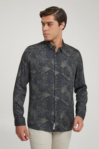 Tween Slim Fit Haki Baskılı Gömlek - 8682364703555 | Damat Tween
