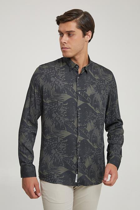 Tween Slim Fit Haki Baskılı Gömlek - 8682364703555   Damat Tween