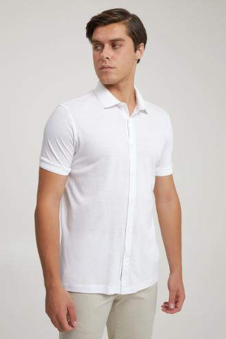 Tween Slim Fit Beyaz Düz Örme Gömlek - 8682364653393   Damat Tween