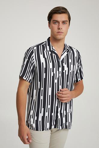 Tween Slim Fit Siyah Baskılı Gömlek - 8682364653539   Damat Tween