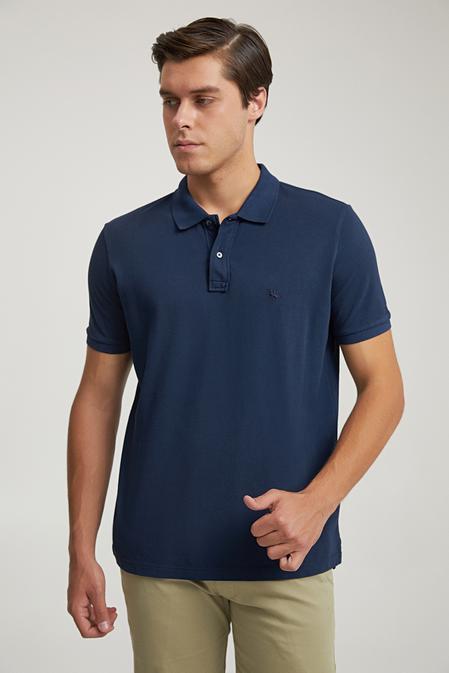 Ds Damat Regular Fit Lacivert Pike Dokulu T-shirt - 8682445084054   D'S Damat
