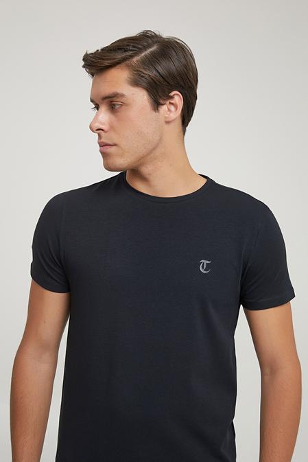 Twn Slim Fit Siyah Baskılı T-shirt - 8682445166743 | D'S Damat