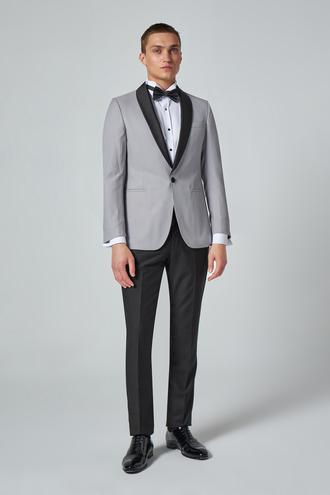 Ds Damat Slim Fit Gri Armürlü Smokin Takım Elbise - 8682060618900 | D'S Damat