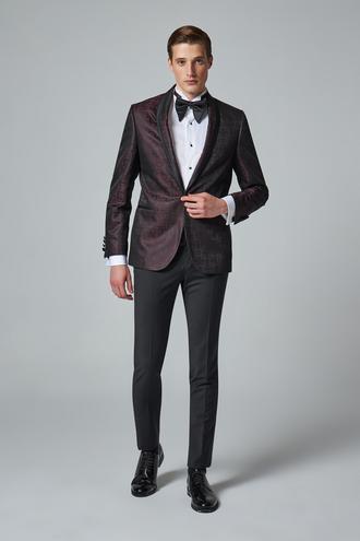 Damat Slim Fit Slim Fit Bordo Desenli Takım Elbıse - 8681649725114   Damat Tween