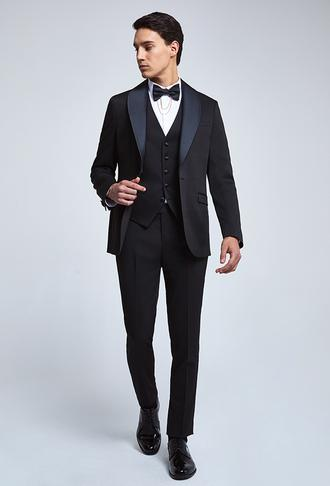 Twn Slim Fit Siyah Armürlü Smokin Yelekli Takım Elbise - 8682445233162   D'S Damat