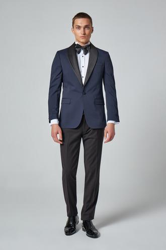 Ds Damat Slim Fit Lacivert Desenli Smokin Takım Elbise - 8682445241372 | D'S Damat