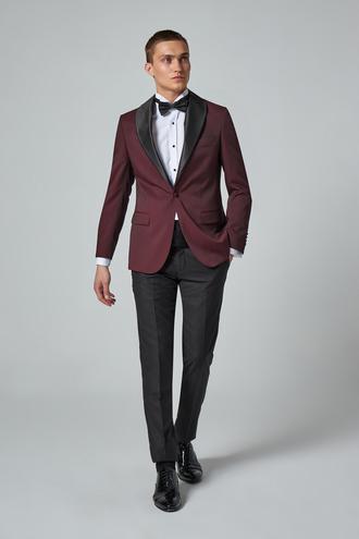 Ds Damat Slim Fit Bordo Desenli Smokin Takım Elbise - 8682445242027 | D'S Damat