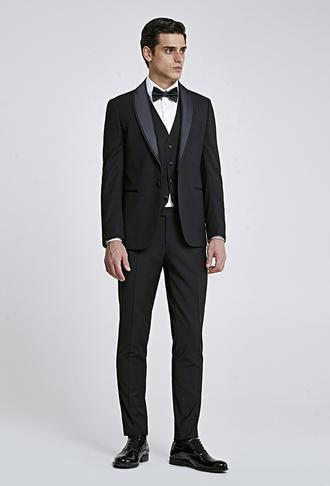 Ds Damat Slim Fit Siyah Armürlü Smokin Takım Elbise - 8682445242423 | D'S Damat