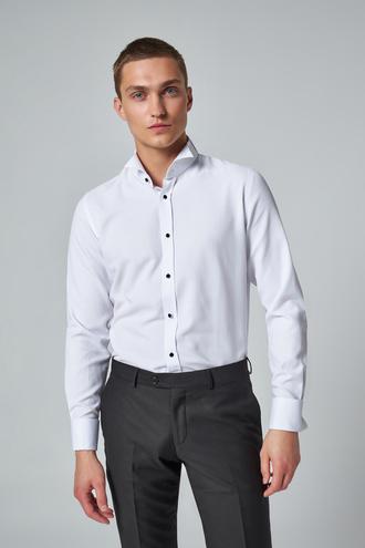 Ds Damat Slim Fit Beyaz Düz Smokin Gömlek - 8682445175738 | D'S Damat