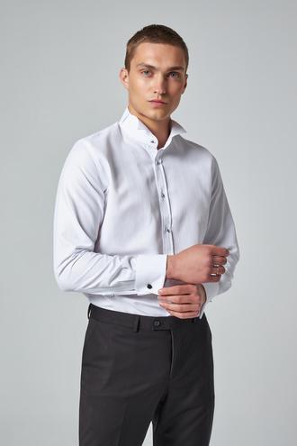 Ds Damat Slim Fit Beyaz Düz Smokin Gömlek - 8682445176667 | D'S Damat