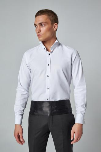 Ds Damat Slim Fit Beyaz Düz Smokin Gömlek - 8682445185546 | D'S Damat