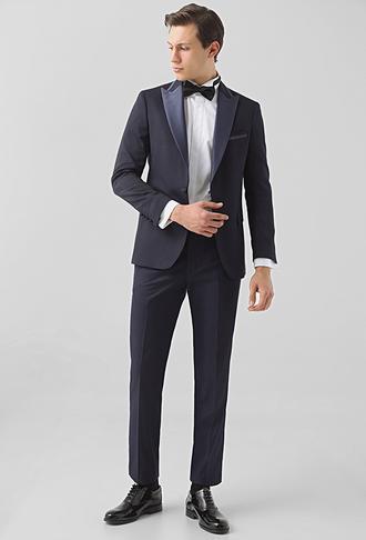 Ds Damat Slim Fit Lacivert Armürlü Smokin Takım Elbise - 8682445079838   D'S Damat