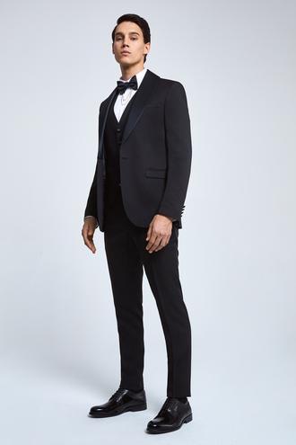 Twn Slim Fit Siyah Armürlü Smokin Yelekli Takım Elbise - 8682445214710 | D'S Damat