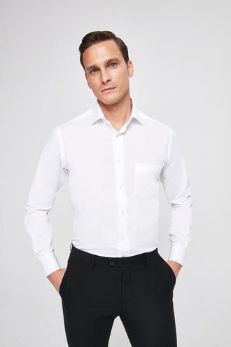 Ds Damat Regular Fit Beyaz Armürlü Gömlek - 8682060926609 | D'S Damat