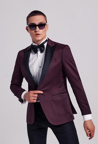 Ds Damat Slim Fit Bordo Armürlü Smokin Takım Elbise - 8682445244328 | D'S Damat