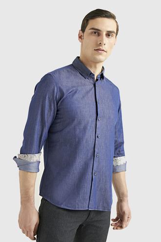 Twn Slim Fit Lacivert Baskılı Gömlek - 8682445475814 | D'S Damat