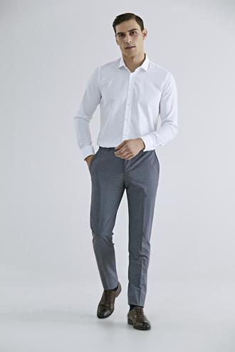 Tween Slim Fit Gri Kumaş Pantolon - 8682364628384   Damat Tween