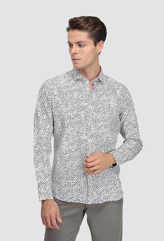 Twn Slim Fit Beyaz Baskılı Gömlek - 8681779489719 | D'S Damat