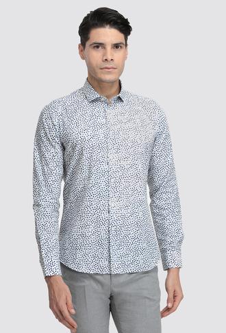 Twn Slim Fit Beyaz Baskılı Gömlek - 8681779513346 | D'S Damat