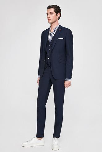 Twn Slim Fit Lacivert Armürlü Yelekli Takım Elbise - 8682060921642 | D'S Damat