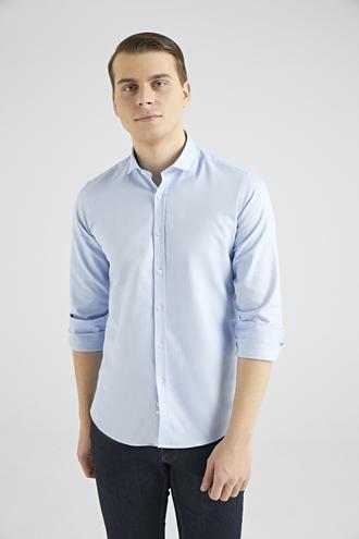 Twn Slim Fit Mavi Armürlü Gömlek - 8682445094725   D'S Damat