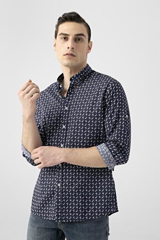 Tween Slim Fit Lacivert Desenli Vual Gömlek - 8681649876625 | Damat Tween