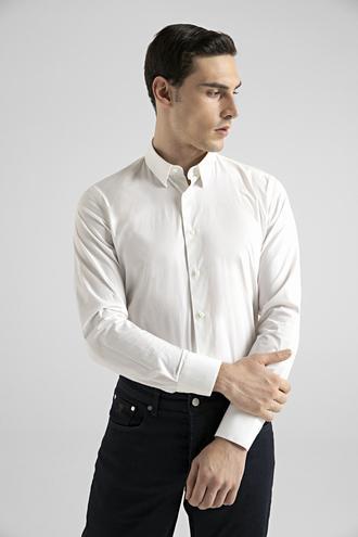 Damat Slim Fit Beyaz Düz Nano Care Gömlek - 8682364798902 | Damat Tween