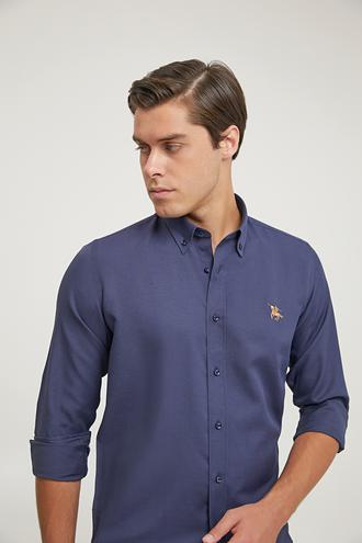 Ds Damat Slim Fit Lacivert Oxford Gömlek - 8682445130201 | D'S Damat