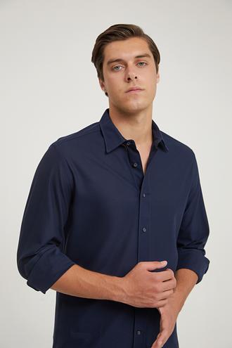 Damat Slim Fit Lacivert Örme Gömlek - 8682364632893 | Damat Tween