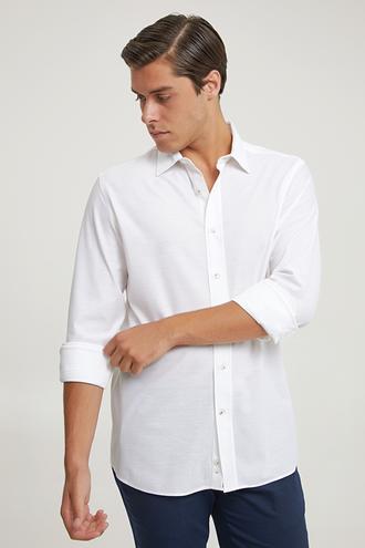 Damat Slim Fit Beyaz Örme Gömlek - 8682364632947 | Damat Tween