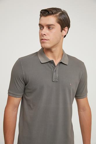 Ds Damat Regular Fit Antrasit Pike Dokulu T-shirt - 8682445030297   D'S Damat
