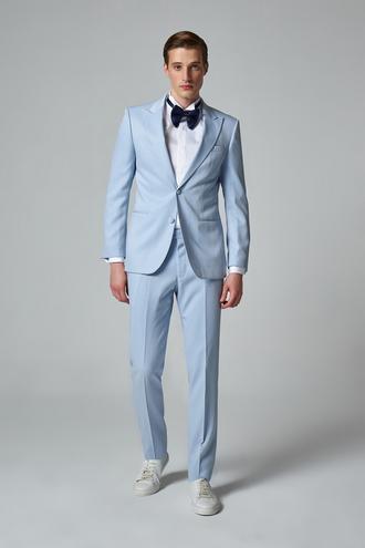 Ds Damat Slim Fit Mavi Jakar Desenli Smokin Takım Elbise - 8681779323709 | D'S Damat